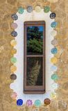 Modernist window. In Barcelona, Spain. Gaudi`s design Park Guell royalty free stock images