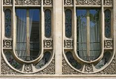 Modernist windows in Barcelona Stock Image