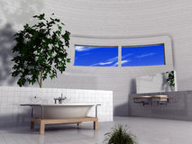 Modernistic bathroom. A rendering of a bathroom including a modernistic bathtub, sink and decorative trees or plants Stock Photos