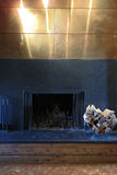 Modernistic fireplace with firewood Royalty Free Stock Photo