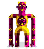 Modernistic vector illustration of bizarre beast, geometric cubi. Sm style avatar  on white background. Strange character image made in flat design Royalty Free Stock Photo