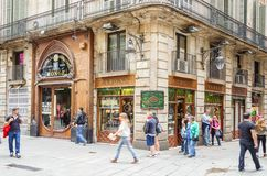 Modernistische Fassade des Philatelieshops, in Barcelona Lizenzfreie Stockfotos