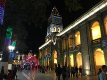 Modernity and classic together in christmas. The city of cochabamba in christmas is full of lights and curious people Royalty Free Stock Image