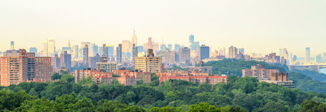 Modernity and nature mix. View on Manhattan at sunrise from Bronx quarter Stock Image