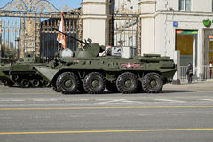Modernized armored personnel carrier Russian army. Before the rehearsal of the Victory parade royalty free stock photography