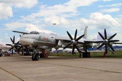 Modernized bomber TU-95MS. Moscow Region - July 21, 2017: Modernized bomber TU-95MS `Saratov` at the International Aviation and Space Salon MAKS in Zhukovsky Royalty Free Stock Photos