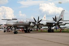 Modernized bomber TU-95MS. Moscow Region - July 21, 2017: Modernized bomber TU-95MS `Saratov` at the International Aviation and Space Salon MAKS in Zhukovsky Royalty Free Stock Images