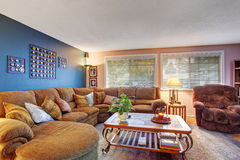 Modernized living room with lots of colors. Stock Photo