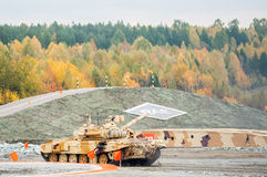Modernized tank T-90S in action Stock Photo