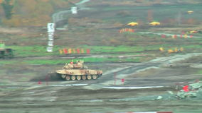 Modernized tank T-90S in action stock video