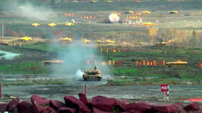 Modernized tank T-90S in action stock video footage