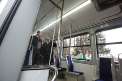 Modernized tram at Vinnytsia Transport Company, Ukraine. VINNITSA, UKRAINE - Feb 22, 2016: President of Ukraine Petro Poroshenko visited Vinnytsia Transport Stock Photo