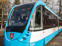 Modernized tram at Vinnytsia Transport Company, Ukraine. VINNITSA, UKRAINE - Feb 22, 2016: President of Ukraine Petro Poroshenko visited Vinnytsia Transport Stock Photos