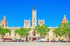 Modernizmu plac urząd miasta Walencja, urzędu miasta kwadrat Obraz Royalty Free