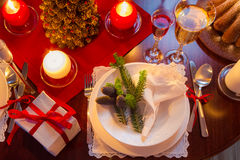 Modernly decorated Christmas table Stock Photography