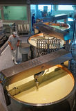 Modernly equipped processing area of Gruyere cheese factory Royalty Free Stock Image