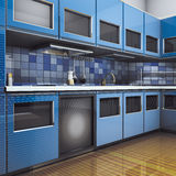 Moderno blu della cucina Fotografie Stock Libere da Diritti
