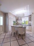 Moderno, brilhante, limpo, interior da cozinha com app de aço inoxidável Imagem de Stock Royalty Free