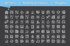 Moderno da linha fina ícones brancos ajuste para o negócio ilustração do vetor