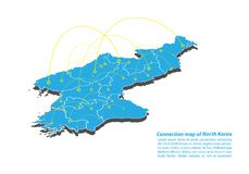 Moderno di progettazione di rete dei collegamenti della mappa della Corea del Nord, migliore concetto di Internet dell'affare del Fotografie Stock Libere da Diritti