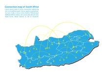 Moderno di progettazione di rete dei collegamenti della mappa del Sudafrica, migliore concetto di Internet dell'affare della mapp Fotografie Stock