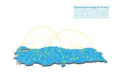 Moderno di progettazione di rete dei collegamenti della mappa del tacchino, migliore concetto di Internet dell'affare della mappa illustrazione di stock