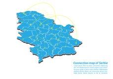 Moderno di progettazione di rete dei collegamenti della mappa della Serbia, migliore concetto di Internet dell'affare della mappa royalty illustrazione gratis