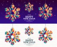 Moderno 2019 do triângulo do floco de neve do ano novo feliz ilustração stock