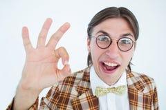 Moderno Geeky que faz o sinal aprovado Imagem de Stock Royalty Free