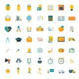 Moderno grande do mercado do curso do grupo dos ícones lisos Imagem de Stock