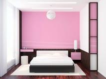 Moderno interior del dormitorio   Fotografía de archivo libre de regalías