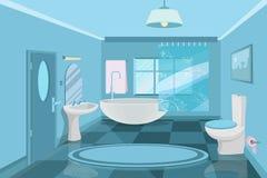Elementi Dell Interno Del Bagno Specchio E Lavandino Illustrazione