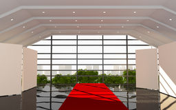 Moderno interno dell'ufficio rosso del corridoio Fotografia Stock