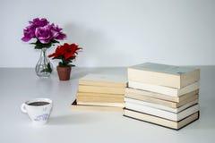 Moderno lendo ainda a vida no fundo branco Imagem de Stock