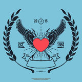 Moderno Logo Angel Heart do vintage com vetor cruzado das setas ilustração royalty free