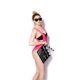 Moderno louro elegante à moda da menina Fotos de Stock
