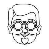 Moderno principal do homem com bigode e vidros ilustração do vetor