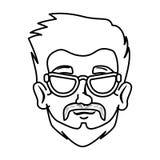 Moderno principal do homem com bigode e vidros ilustração stock