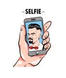 Moderno que toma a Selfie o molde cômico Fotografia de Stock Royalty Free