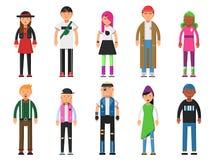 Modernos formados Caráteres engraçados alternativos Os povos isolam-se no fundo branco ilustração royalty free