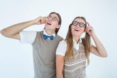 Modernos Geeky que olham confundidos Fotos de Stock