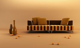 Modernstriped couch Stock Photography