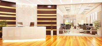 Modernt öppet kontor med mottagande och exponeringsglasdelningen royaltyfri illustrationer