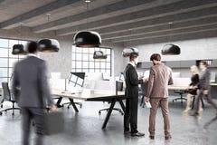Modernt öppet utrymmekontor, sidosikt, folk Arkivbild