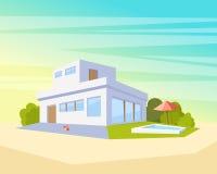 Modernt arkitekturhus för plan stil med pölen och gräsplangräsmatta Härlig landskapvektorteckning i perspektivet Fotografering för Bildbyråer