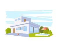 Modernt arkitekturhus för plan stil med pölen och gräsplangräsmatta Vektorteckning i perspektivsikten Royaltyfria Foton
