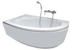 Modernt badkar med duschen Arkivbild