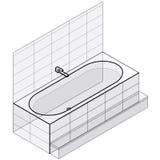 Modernt badkar som fylls med vatten Det skisserade isometriska vektorbadet badar stock illustrationer