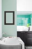 Modernt badrum genom att använda mjuka gröna pastellfärgade färger Royaltyfria Foton