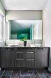 Modernt badrum genom att använda mjuka gröna pastellfärgade färger Royaltyfri Foto